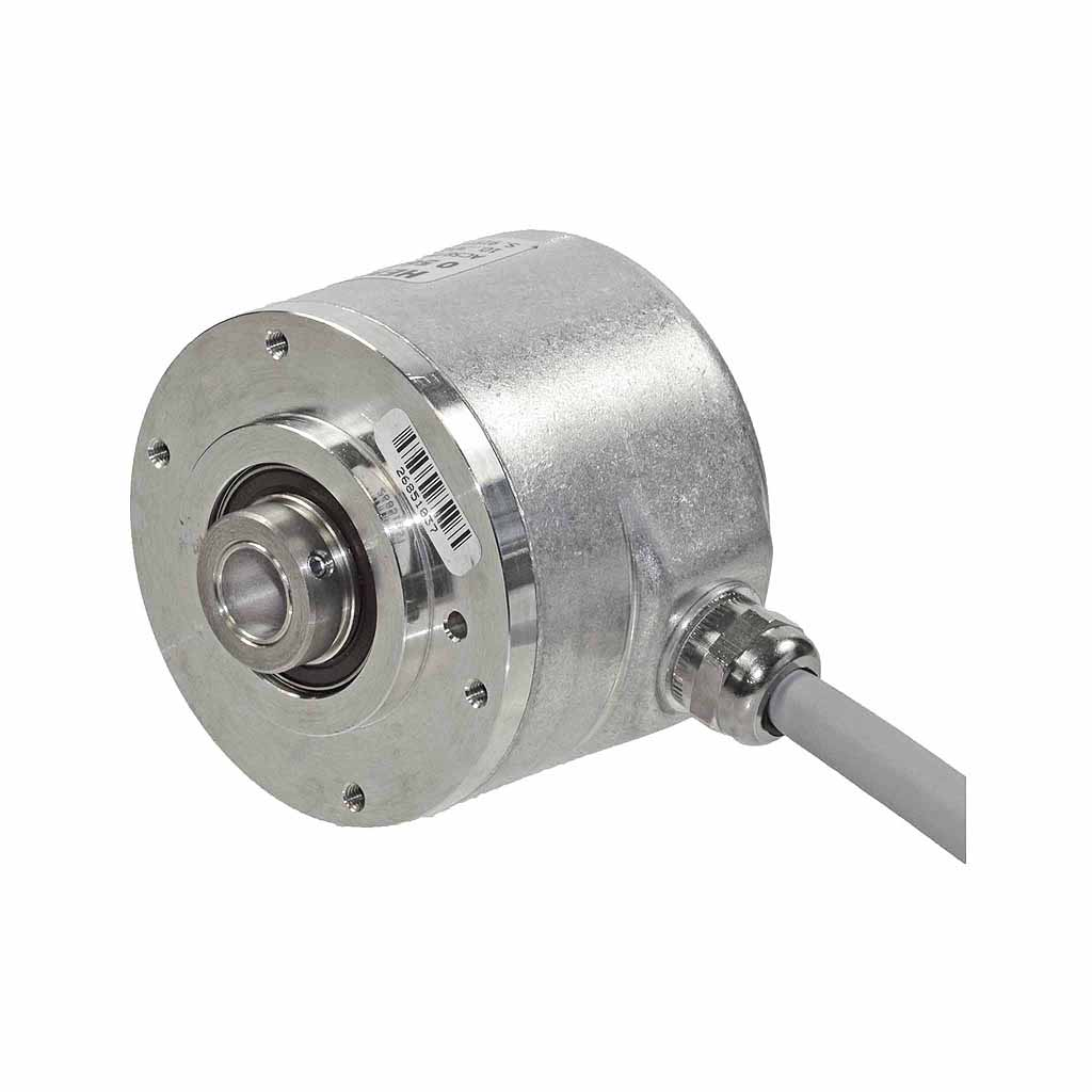 Hengstler AC58 absolute encoder hub shaft design with clamping front ring with radial cable
