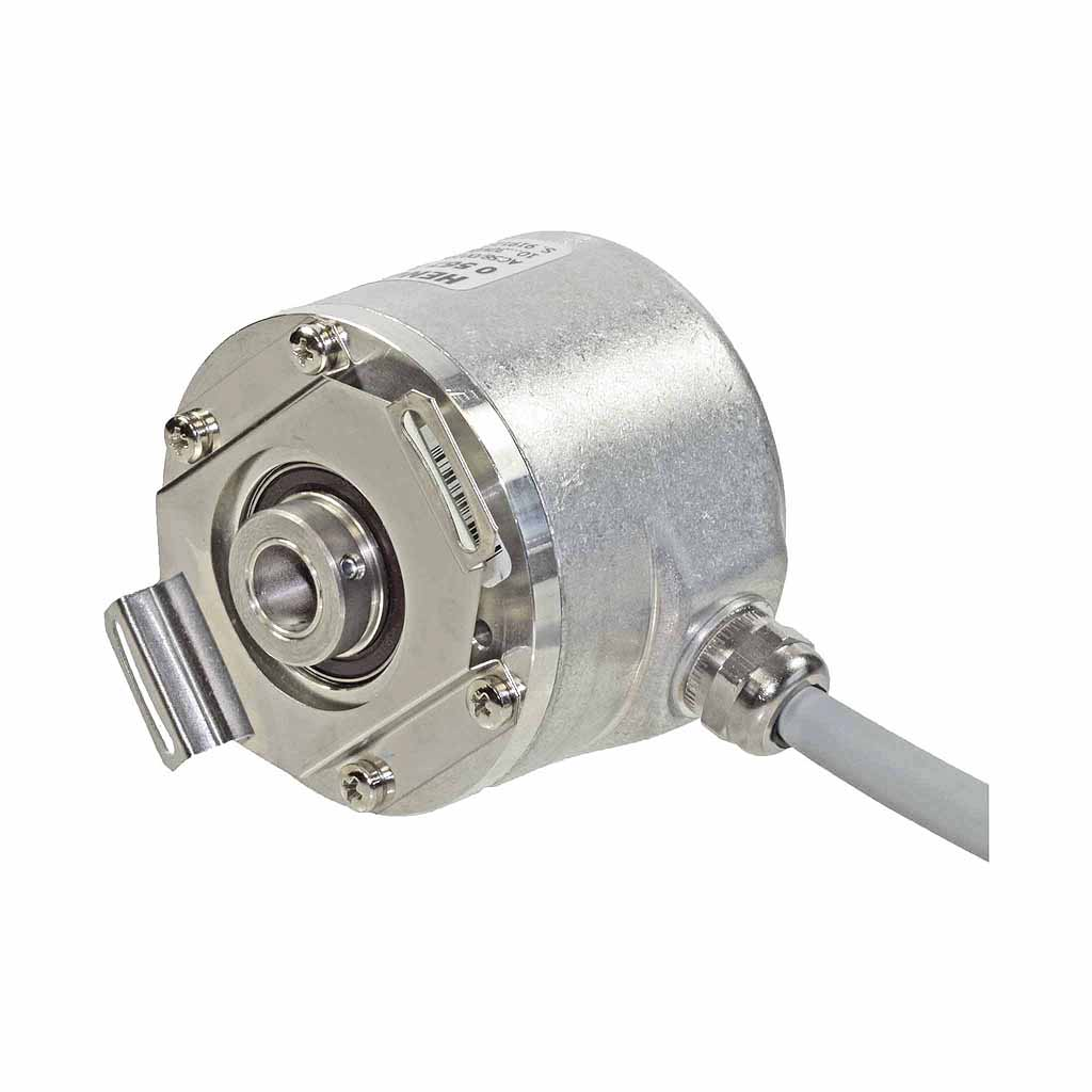 Hengstler AC58 absolute encoder hub shaft design with front clamping front and spring tether with radial cable