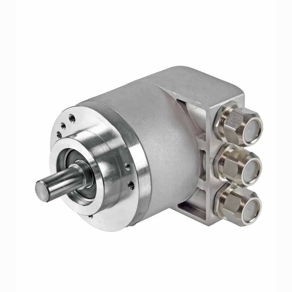Hengstler AC58 absolute encoder solid shaft design with clamping flange with three sealed cable exits