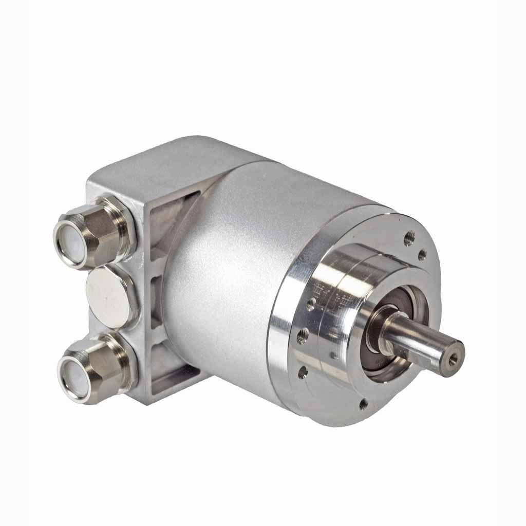 Hengstler AC58 absolute encoder solid shaft design with clamping flange with two sealed cable exits