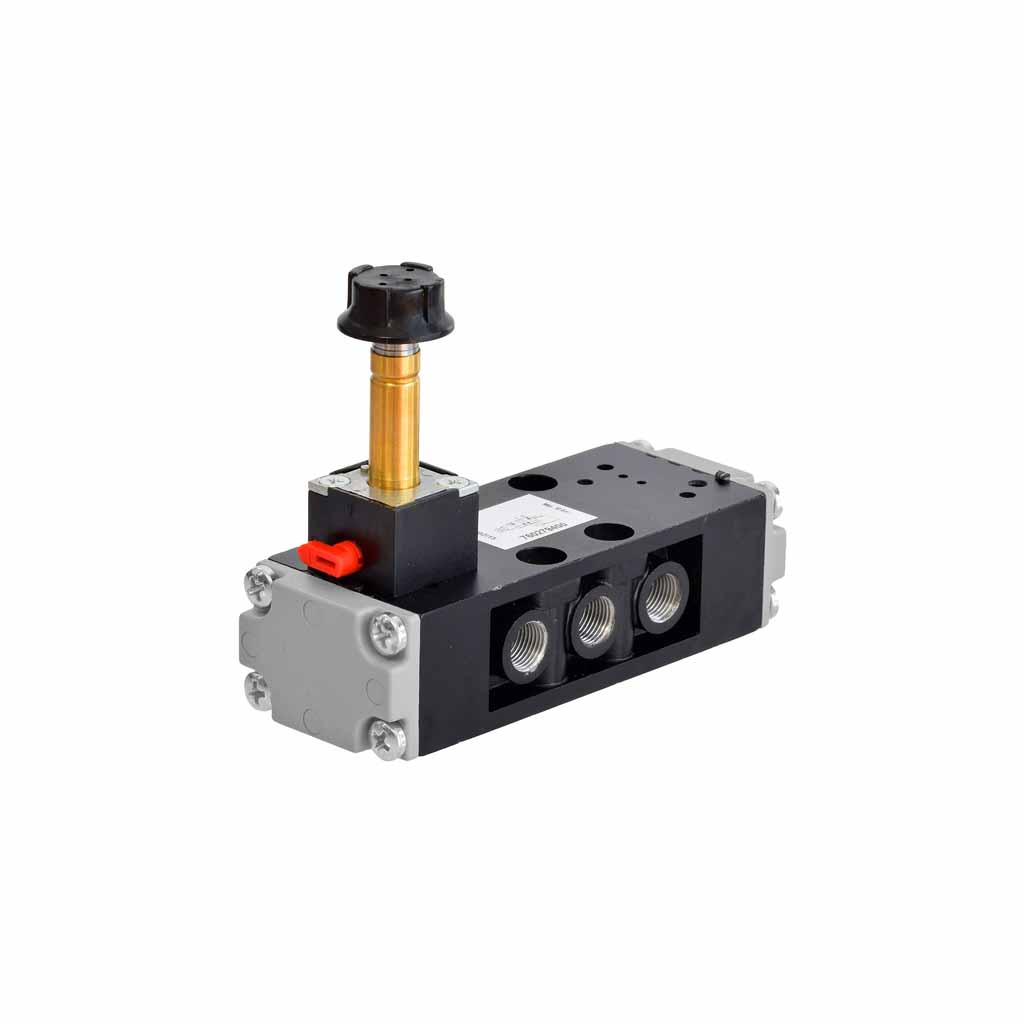 Kuhnke 76 series solenoid valve 5 way single solenoid 1/8 ports compact design vertical coil