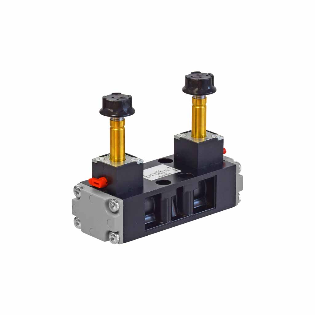 Kuhnke 76 series 5 way double solenoid ISO 1 valve with vertical coil