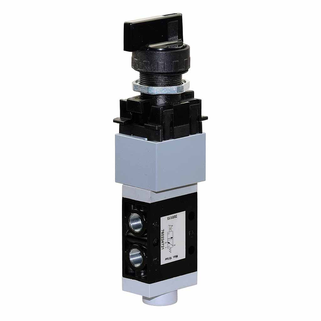 Kuhnke 76 series pneumatic valve selector valve with long rotary selector