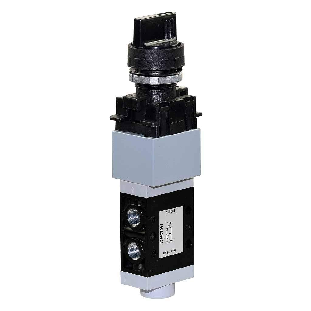 Kuhnke 76 series pneumatic valve selector valve with short rotary selector