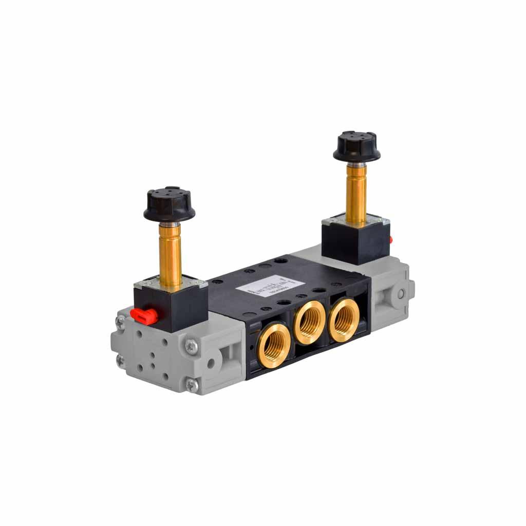 Kuhnke 76 series solenoid valve 5 way doublele solenoid 1/4 ports vertical coils