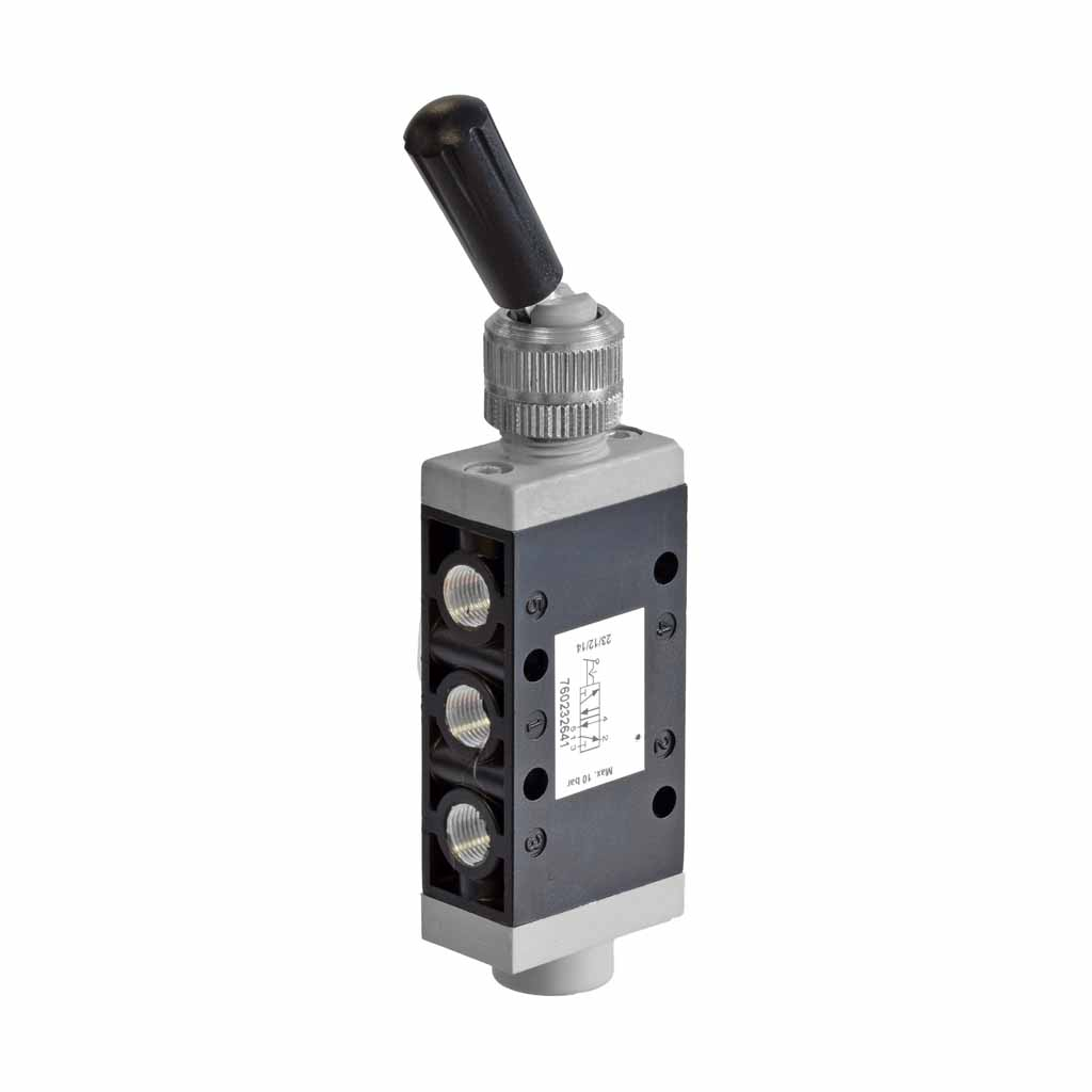 Kuhnke 76 series pneumatic toggle lever valve with inline lever
