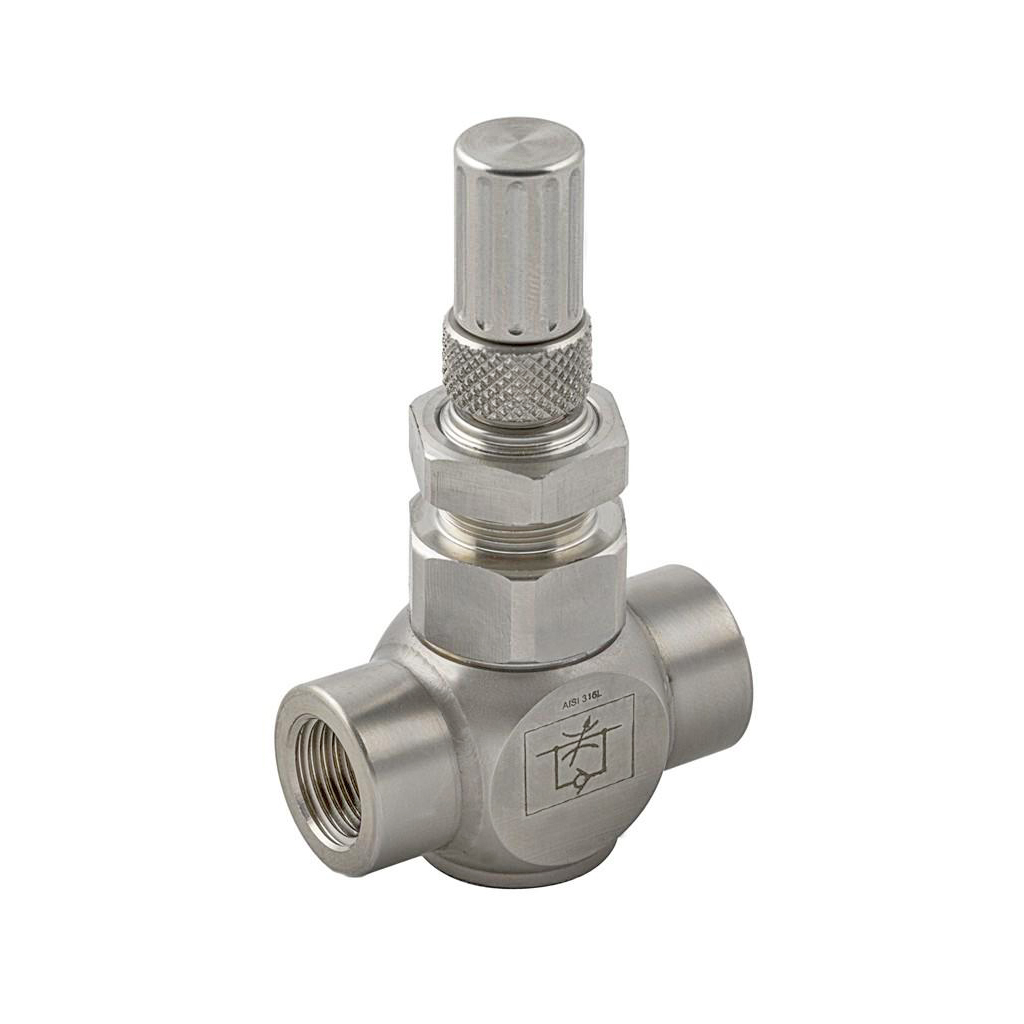 Stainless steel in-line uni-directional flow regulator